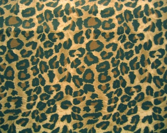 Cheetah Leopard Fabric Brown Black Cotton By the Yard 36 Inches Long