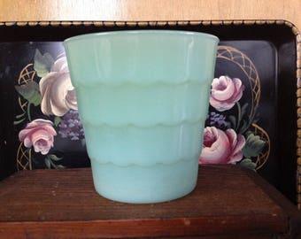 Vintage Jadeite Scalloped Edged Flower Pot/Vase