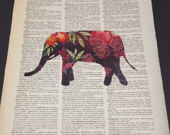 Vintage Dictionary Print - Water Color Elephant
