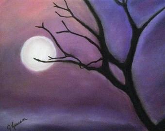 Tree in Purple Moonlit Sky