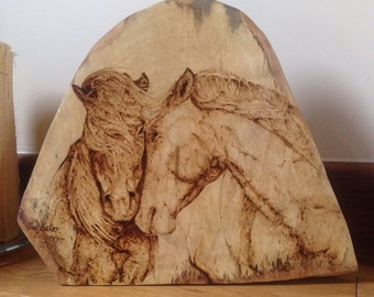 Wild horses pyrography solid spalted sycamore