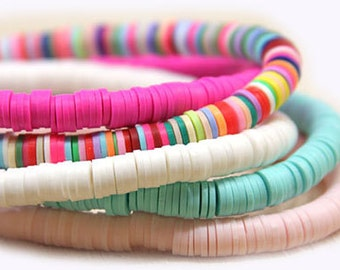 Katsuki clay beads white, light pink, light turquoise, clay 6 mm light color, katsuki beads,  bracelet beads