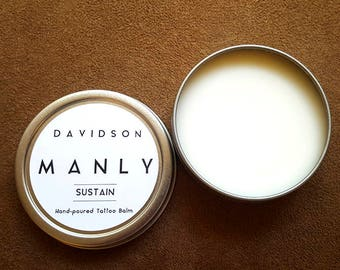 New! 'Sustain' by Davidson Manly is an all natural tattoo balm formulated to heal, moisturize and preserve your body art.