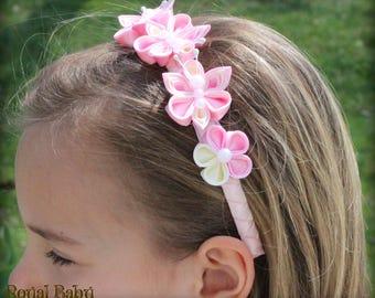 Kanzashi Flower,Royal Satin Ribbon Flower,Hairband ,Royal Hair Accessories,Wedding,Party,Baby Girl Photo,Flower Girls,Butterflies,