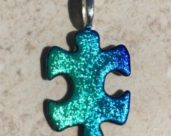 Dichroic Fused Glass Pendant - Teal Blue Puzzle Pendant