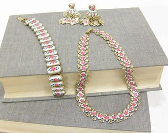 Vintage Guilloche Enamel Rose Painted Jewelry Set