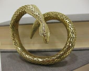 Vintage Whiting & Davis Flexible Gold-Tone Snake/Serpent Bangle Bracelet