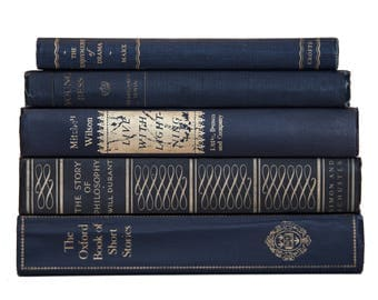 Set of Dark Navy Blue & Gold Old Books for Decor, Book Gifts, Vintage Library, Instant Library, Antique Sets, Vintage Book Themed Wedding