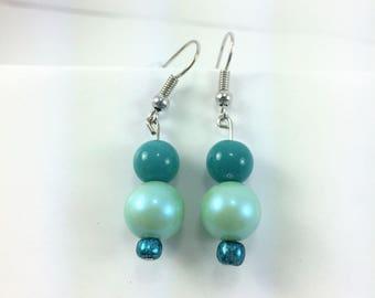Aqua green and soft green earring mix #64