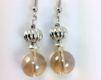 Silver and beige earrings #86