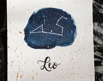 Leo Constellation Painting - Galaxy, Night Sky, Stars, Original Watercolor