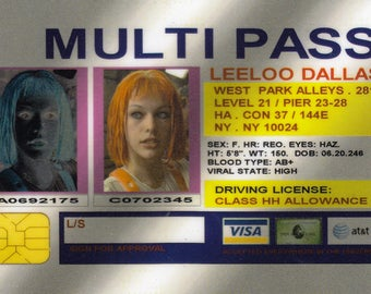 LeeLoo Multipass, The Fifth Element, LeeLoo Cosplay,  Digital Download