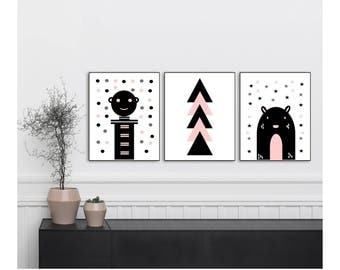 Scandinavian Modern Nursery, Nursery Art, Nursery Wall Art, Nursery Decor, 3 Set Prints, Grey, Blush Pink, Black