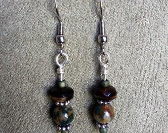 Amber Swirl Glass and Fancy Jasper Stone Dangle Earrings Nickle Free Headpins and Ear Wires