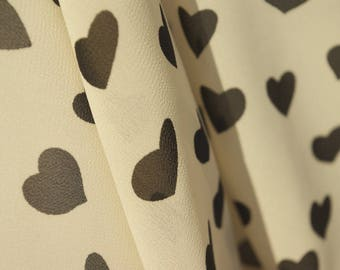 Black Hearts Cream Georgette