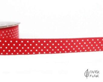 Ribbon satin ribbon decorative ribbon points red/white 3 m (DP 16)