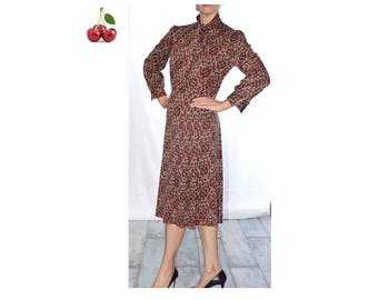 Midi dress vintage 70's dress printed graphic long sleeve dress Secretary tie neck dress preppy pleated skirt, fitted at the waist