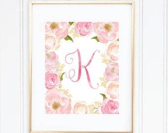 Nursery Print, Personalized Nursery Art, Nursery Initial Print, Nursery Wall Art, Watercolor, Nursery Initial Art, Pink Nursery Art
