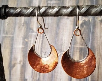 OOAK Handmade Sterling Silver and Copper Crescent Moon Earrings, Long Dangle, gift for her, birthday present, mothers day, artisan jewelry