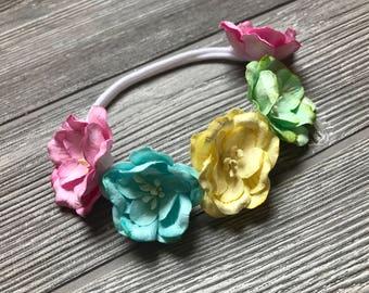 Rainbow of Flowers Baby Headband - Girl Headband - Flower Headband - Magnolia Headband - Mulberry Paper Flower - Mulberry Flower