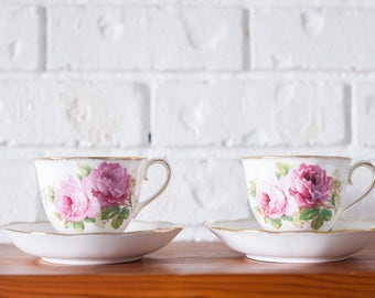 American Beauty Royal Albert Bone China Teacups and Saucers