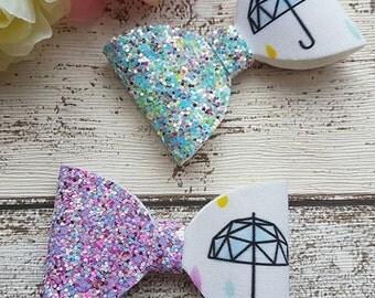 Pastel rain umbrella hair bows. Chunky glitter, artisan fabric