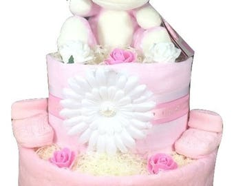 Two Tier Pink Nappy Cake
