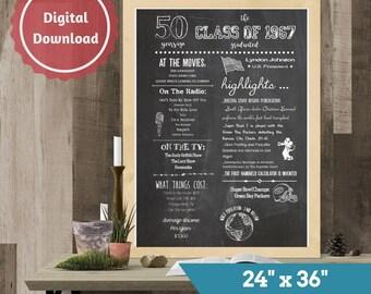 """50th Class Reunion Chalkboard Sign, Class of 1967, High School Reunion, College Reunion, 24""""x36"""", Chalkboard Poster"""