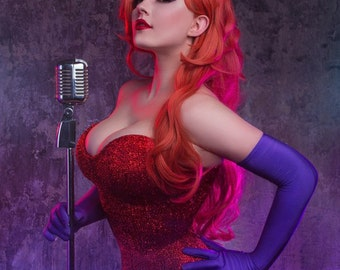 Jessica Rabbit red dress cosplay costume and wig ready made to order!