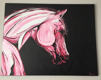 Original equestrian painting- Pink Sky