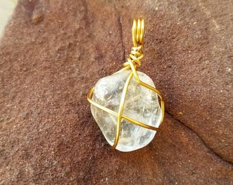 Clear Crystal Necklace, Wire Wrapped Clear Quartz, Gifts For Him, Crystal Necklace, Wire Wrapped Crystal, Crystal Jewelry, Crystal Healing