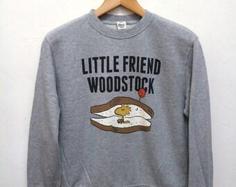 Vintage WOODSTOCK Peanuts Little Friend Gray Sweater Sweatshirt Size S