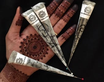 4 100% organic henna cones made with natural ingredients