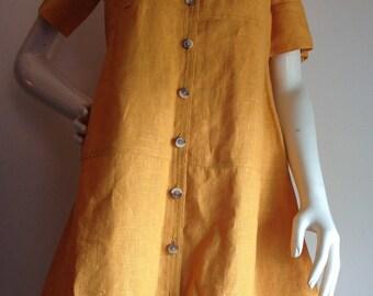 French mustard Linen shirtdress Harve Bernard summer light preppy easy dress large petite