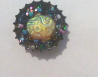 Celestial moon bottlecap pendant
