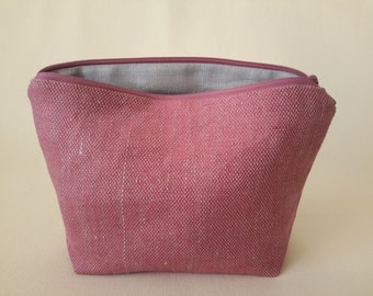 Linen cosmetic pouch in dark pink  Stylish makeup storage  Gorgeous cosmetic pouch Accessory bag Linen cosmetic organizer Zipper makeup bag