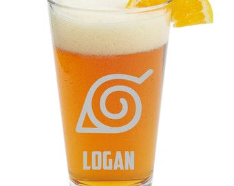 Naruto,naruto shippuden symbol, beer glass with Name, Personalized pint glass