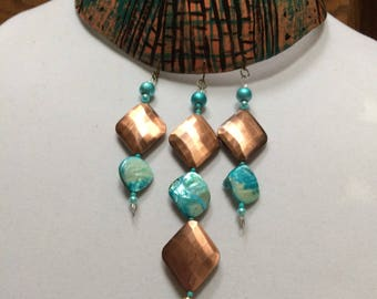 Gourd, bib necklace,one-of-a-kind, copper and turquoise,tribal gourd necklace