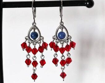 Dangling Earrings Blue Cat's Eye Glass Beads  - Nickel Free