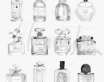 Perfume Bottles - REAL foil print - Chanel, Chloe, Marc Jacobs, Chic, Homeware, Giftware