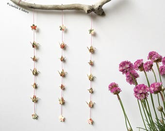 Mobile Driftwood garlands of origami washi paper cranes