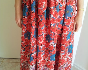 Floral lined maxi skirt with elasticated waist