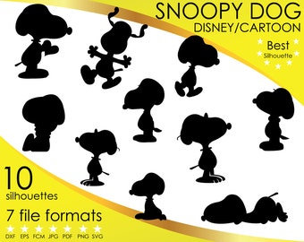 10 Silhouettes, Snoopy, Dog, Dogs, Pooh, Pig, Cartoon, dxf, eps, fcm, jpg, pdf, png, svg, Vector Clipart, Silhouette, Cricut, ScanNCut
