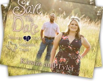 Gold and Pink Save The Date