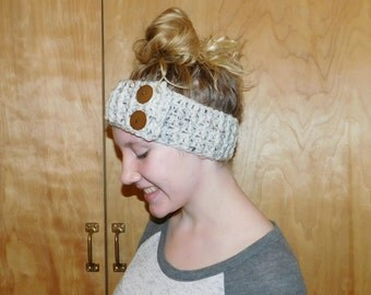Crochet Headband Earwarmer Adjustable with Buttons