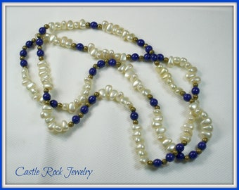 Freshwater Pearl Necklace with Blue and Gold Beads