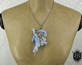 Denim Goth chic necklace with gold leather and loop