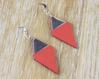 Jane diamond leather coral and Silver earrings