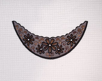 Beautiful black-brown embroidery applique