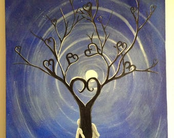 Painting on canvas representing love and the tree of life